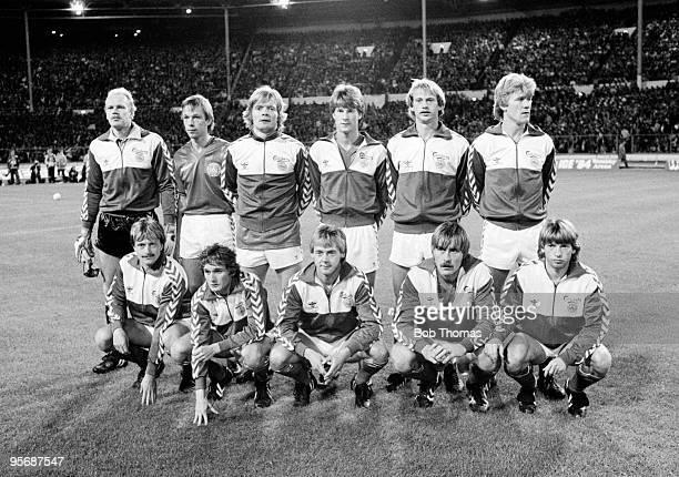 Denmark's football team before their European Championship Qualifying match against England held at Wembley Stadium London on 21st September 1983...
