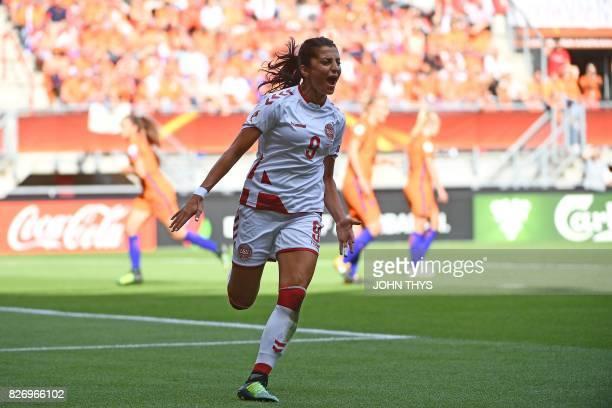 Denmark's forward Nadia Nadim celebrates after scoring a goal during the UEFA Womens Euro 2017 football tournament final match between Netherlands...