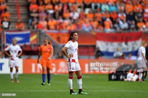 Denmark's forward Nadia Nadim reacts at the end of the UEFA Womens Euro 2017 football tournament final match between Netherlands and Denmark at Fc...