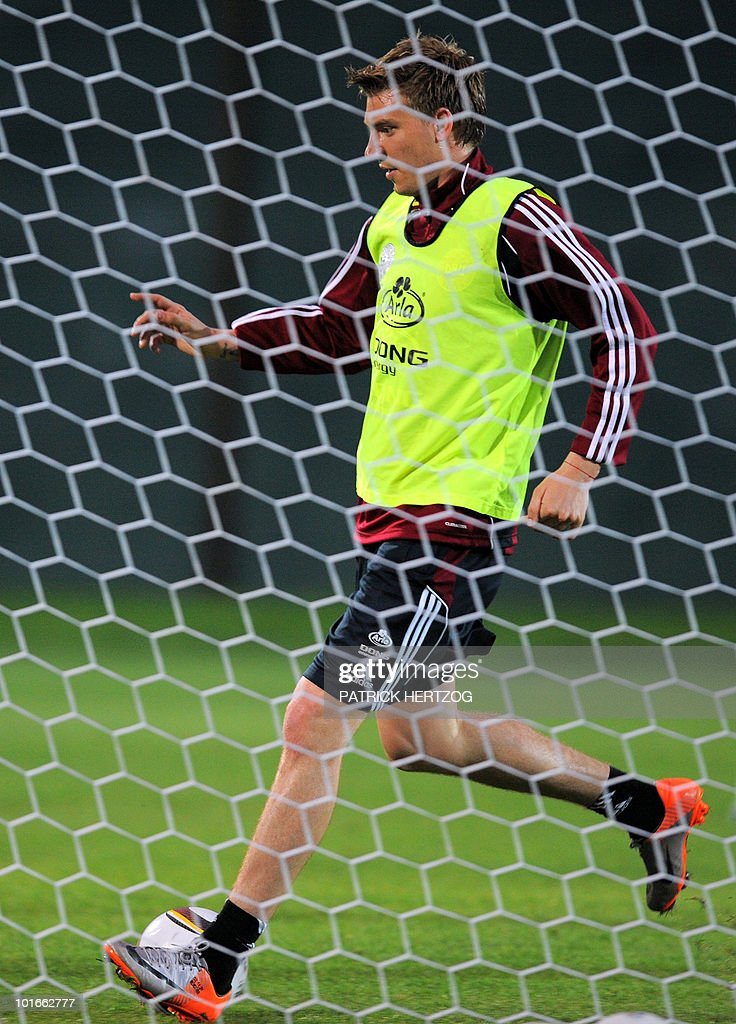 Denmark's forward Nicklas Bendtner controls the ball during a training session at Loerie Park in Knysna on June 6, 2010 ahead of the 2010 World Cup football tournament in South Africa.
