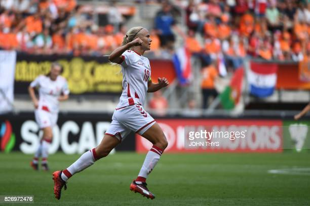 Denmark's forward Pernille Harder celebrates after scoring a goal during the UEFA Womens Euro 2017 football tournament final match between...