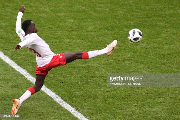 TOPSHOT Denmark's forward Pione Sisto controls the ball during the Russia 2018 World Cup Group C football match between Denmark and Australia at the...