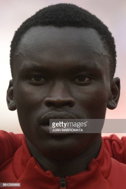 Denmark's forward Pione Sisto poses before the Russia 2018 World Cup Group C football match between Denmark and France at the Luzhniki Stadium in...