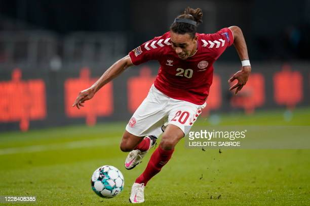 Denmark's forward Yussuf Poulsen plays the ball during the UEFA Nations League football match between Denmark and England on September 8, 2020 in...