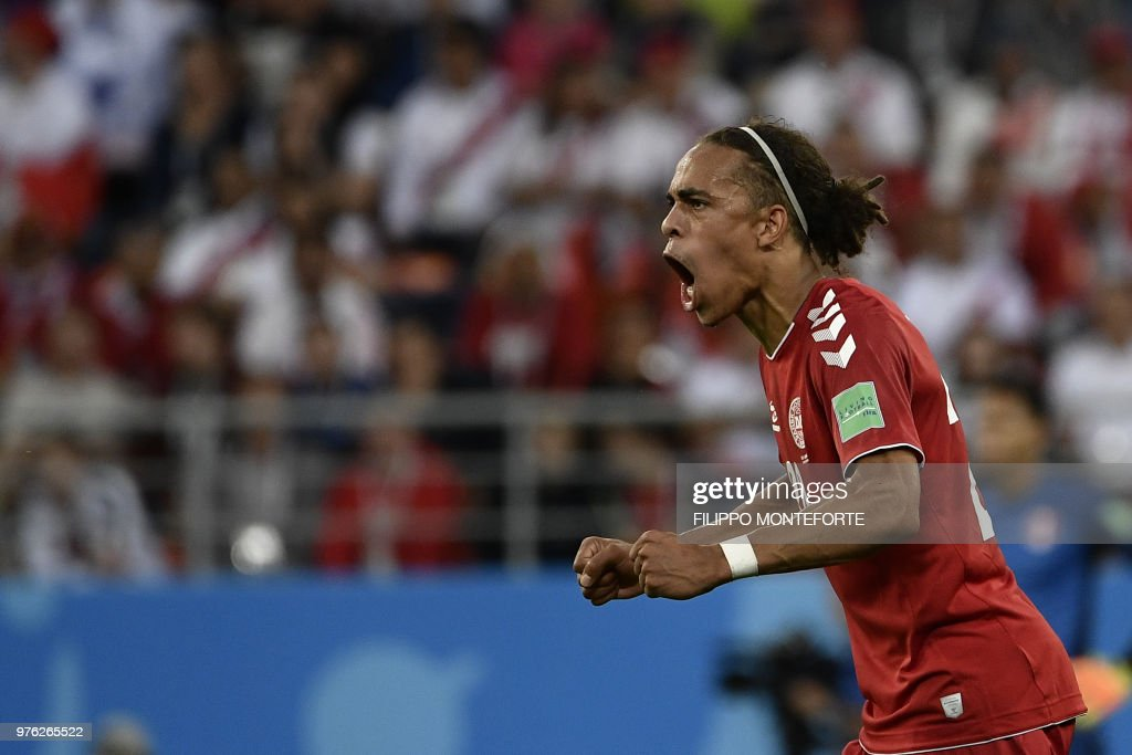 TOPSHOT - Denmark's forward Yussuf Poulsen reacts during the Russia 2018 World Cup Group C football match between Peru and Denmark at the Mordovia Arena in Saransk on June 16, 2018. (Photo by Filippo MONTEFORTE / AFP) / RESTRICTED