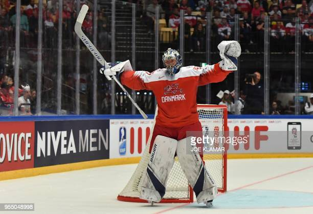 Denmark's goalie Frederik Andersen reacts during the group B match Denmark vs US of the 2018 IIHF Ice Hockey World Championship at the Jyske Bank...