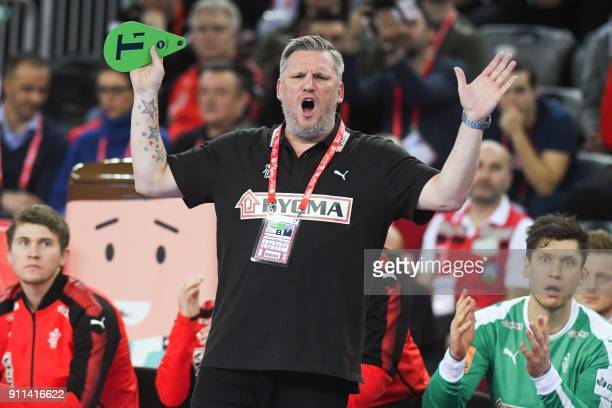 Denmark's headcoach Nikolaj Jacobsen reacts during the match for third place of the Men's 2018 EHF European Handball Championship between France and...