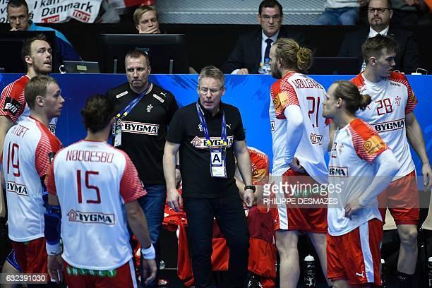Denmark's icelandic head coach Gudmundur Gudmundsson and Denmark's pivot Rene Toft Hansen Denmark's pivot Jesper Noddesbo Denmark's left back Henrik...