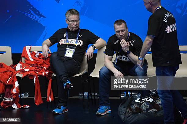 Denmark's icelandic head coach Gudmundur Gudmundsson looks on after losing to Hungary the 25th IHF Men's World Championship 2017 eighth final...