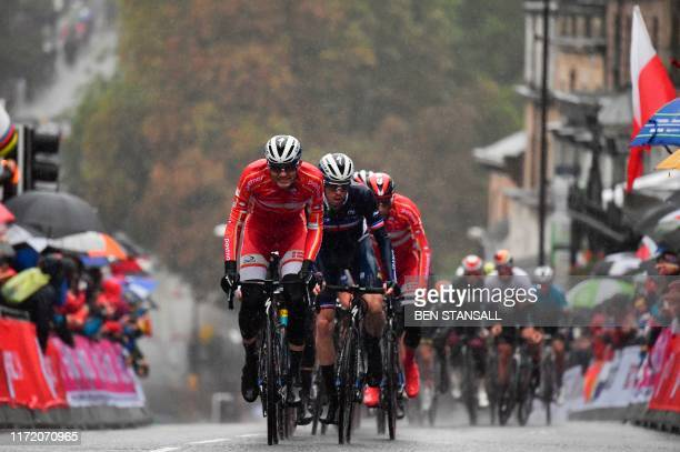 Denmark's Kasper Asgreen leads a group up Parliament Hill in Harrogate northern England on September 29 2019 as they compete in the Men's Elite Road...
