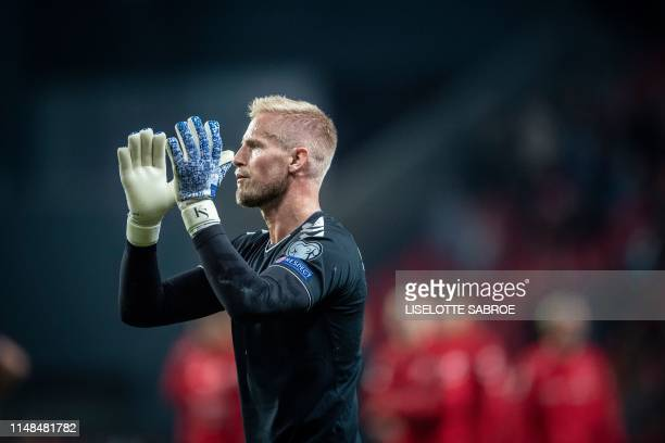 Denmark's Kasper Schmeichel at the end of the UEFA Euro 2020 qualifying football match between Denmark and Ireland in Telia Parken on June 7 2019 /...