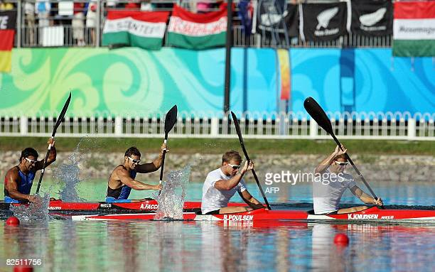 Denmark's Kim Wraae Knudsen and Rene Holten Poulsen and Italy's Andrea Facchin and Antonio Scaduto compete in the 2008 Beijing Olympic Games Men's...