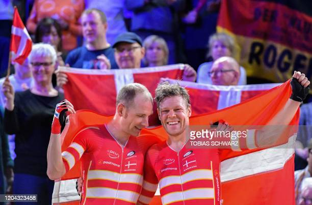 Denmark's Lasse Norman Hansen and Denmark's Michael Morkov celebrate after the men's 50km Madison final at the UCI track cycling World Championship...