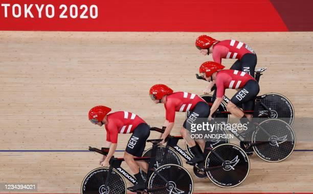 Denmark's Lasse Norman Hansen, Denmark's Niklas Larsen, Denmark's Frederik Madsen and Denmark's Rasmus Pedersen compete in the men's track cycling...