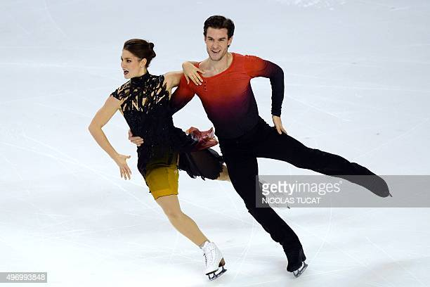 Denmark's Laurence Fournier Baudry and Nikolaj Sorensen perform in the pair ice dance short dance at the Trophee Eric Bompard ISU Grand Prix of...