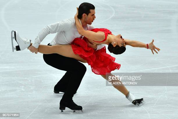 Denmark's Laurence Fournier Beaudry and Nikolaj Sorensen perform during their ice dance short dance at the ISU European Figure Skating Championships...