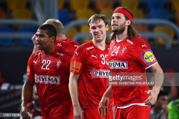 Denmark's left back Mikkel Hansen celebrates after scoring during the 2021 World Men's Handball Championship match between Group II teams Denmark and...