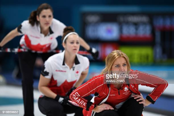 Denmark's Madeleine Dupont shouts for instructions during the curling women's round robin session between Denmark and Canada during the Pyeongchang...