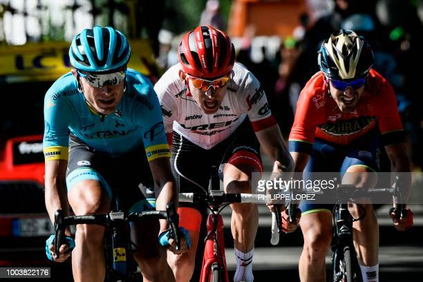 Denmark's Magnus Nielsen Netherlands' Bauke Mollema and Spain's Jon Izagirre ride during their breakaway in the 15th stage of the 105th edition of...