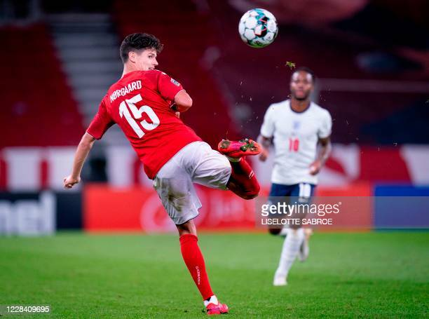 Denmark's midfielder Christian Norgaard plays the ball during the UEFA Nations League football match between Denmark and England on September 8 2020...