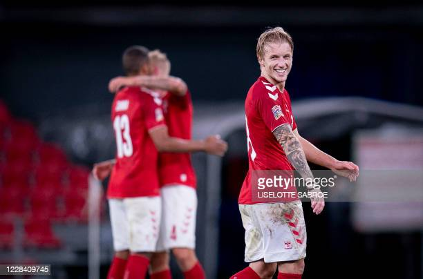 Denmark's midfielder Daniel Wass reacts after the UEFA Nations League football match between Denmark and England on September 8 2020 in Copenhagen...