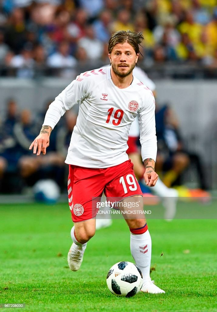 Denmark's midfielder Lasse Schone controls the ball during the international friendly footbal match Sweden v Denmark in Solna, Sweden on June 2, 2018.