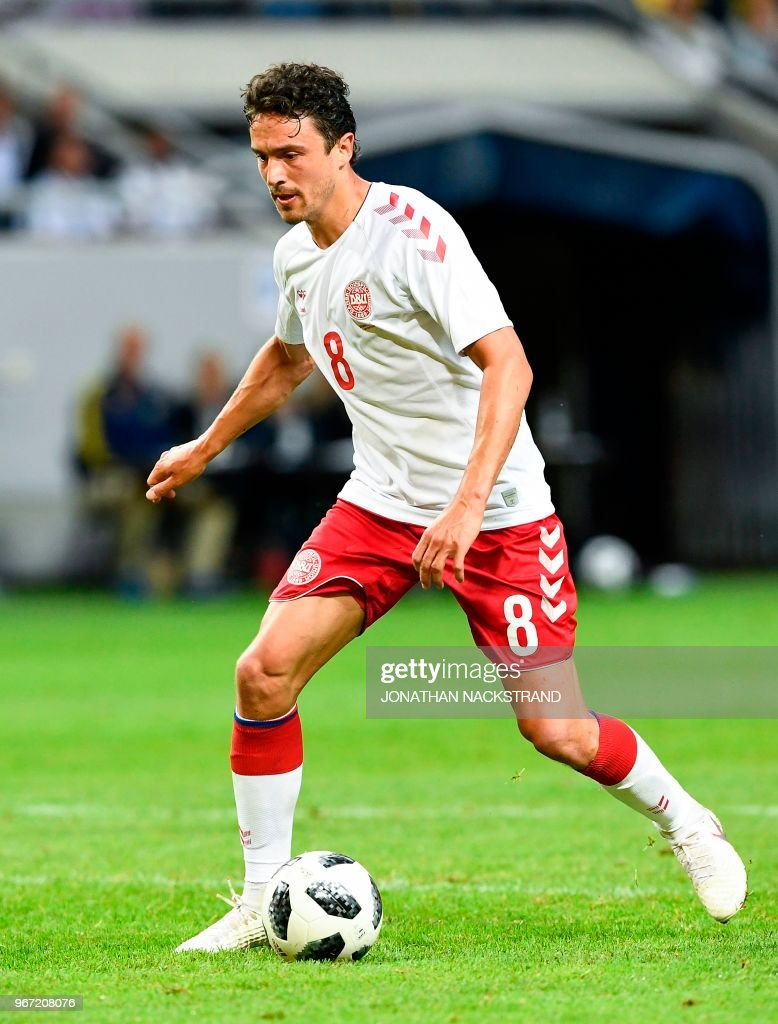 Denmark's midfielder Thomas Delaney controls the ball during the international friendly footbal match Sweden v Denmark in Solna, Sweden on June 2, 2018.