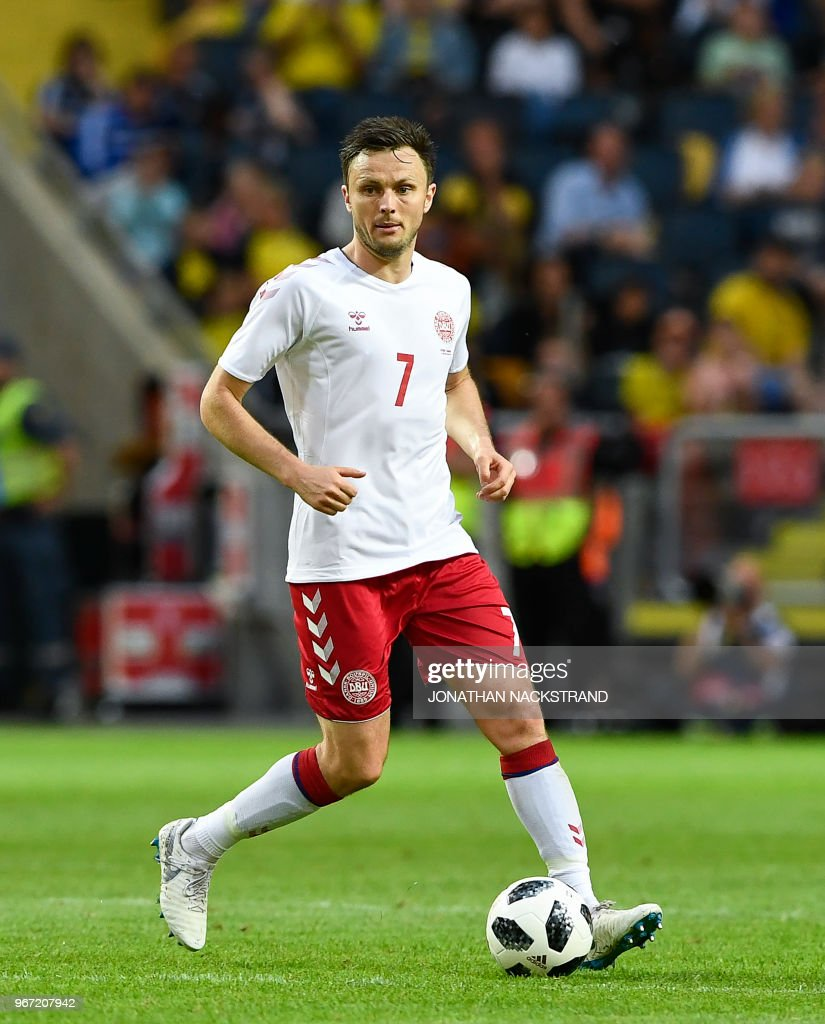 Denmark's midfielder William Vitved Kvist controls the ball during the international friendly footbal match Sweden v Denmark in Solna, Sweden on June 2, 2018.