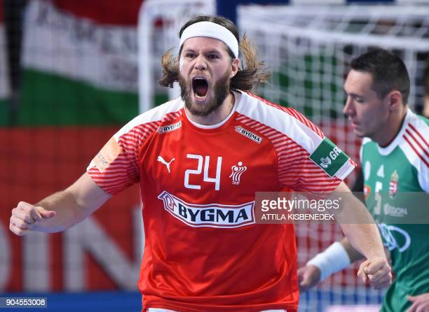 Denmark's Mikkel Hansen celebrates his victory against Hungary during their match in the 13th edition of the EHF European Men's Handball Championship...
