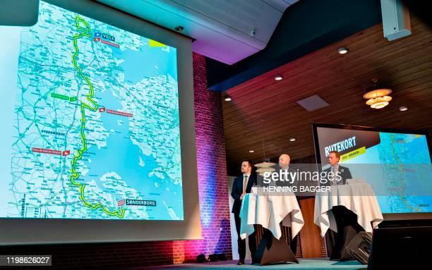 Denmark's Minister of Commerce Simon Kollerup the Mayor of Vejle Jens Ejner Christensen and the director of the Grand Depart Copenhagen Alex Pedersen...