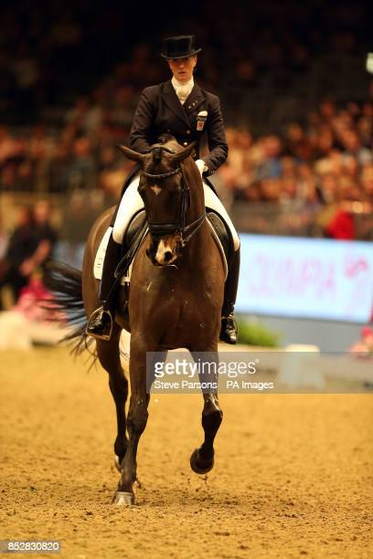 Denmark's Nathalie zu SaynWittgenstein riding Digby in the Reem Acra FEI World Cup Dressage Freestyle to Music during day two of The London...