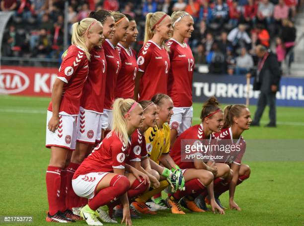 Denmark's national football team players Line Jensen Theresa Nielsen Stina Lykke Petersen Katrine Veje Frederikke Thogersen Pernille Harder Simone...