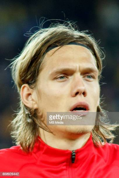 Denmark's national soccer player Jannik Vestergaard pictured before the 2018 FIFA World Cup qualifier soccer game between Romania and Denmark on...