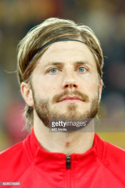 Denmark's national soccer player Lasse Schone pictured before the 2018 FIFA World Cup qualifier soccer game between Romania and Denmark on March 26...