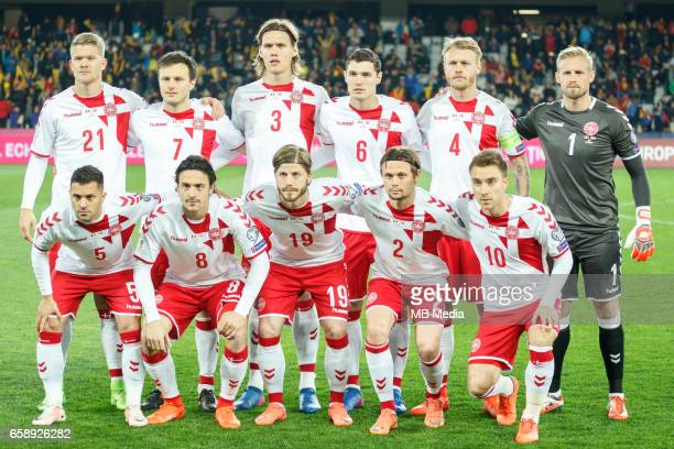 Denmark's national soccer players Andreas Cornelius William Vitved Kvist Jannik Vestergaard Andreas Christensen Simon Kjaer Kasper Schmeichel Riza...