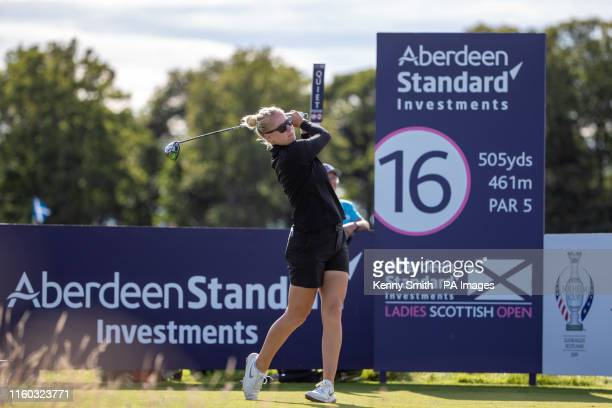 Denmark's Nicole Broch Larsen tees off at the 16th hole during day one of the Aberdeen Standard Investments Ladies Scottish Open at The Renaissance...
