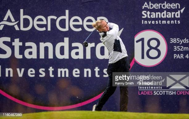Denmark's Nicole Broch Larsen tees off at the 18th during day two of the Aberdeen Standard Investments Ladies Scottish Open at The Renaissance Club...