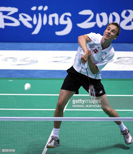 Denmark's Peter Gade plays a shot during a training session in Beijing on August 07 2008 on the eve of the opening ceremony of the 2008 Beijing...