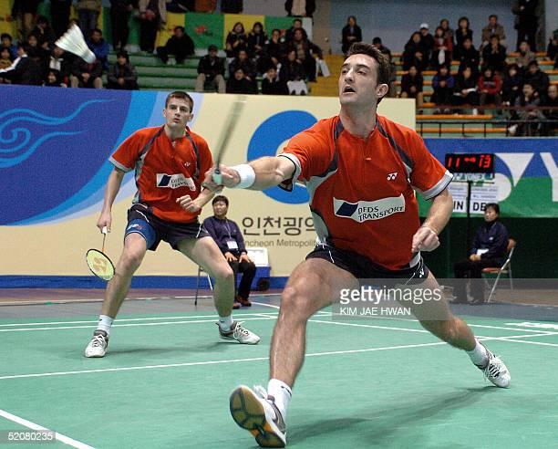 Denmark's player Martin Lundgaard Hansen returns the shuttlecock during a semifinal Men's Doubles game of the Korea Open Badminton Championships 2005...