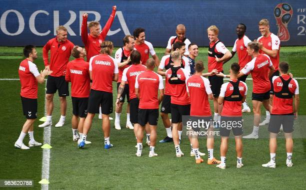 Denmark's players take part in a training session in at the Luzhniki Stadium in Moscow on June 25 on the eve of the Russia 2018 FIFA World Cup Group...