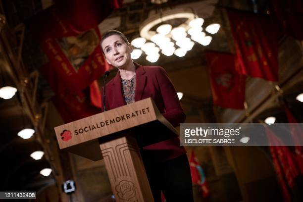 Denmark's Prime Minister and the Social Democrats party leader Mette Frederiksen gives her May 1 speech, broadcast live from the Labour Museum in...