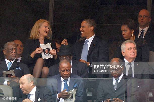 Denmark's Prime Minister Helle Thorning Schmidt and US President Barack Obama and US First Lady Michelle Obama for the memorial service of South...