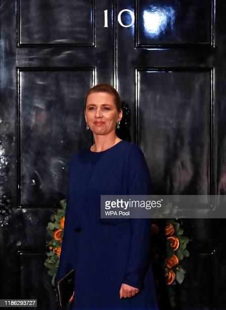 Denmark's Prime Minister Mette Frederiksen arrives at 10 Downing Street in London ahead of a NATO reception hosted by British Prime Minister Boris...