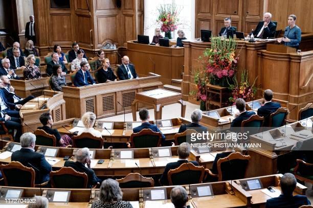 Denmark's Prime Minister Mette Frederiksen speaks at the opening of the Danish Parliament Folketinget at Christiansborg Palace in Copenhagen, on...