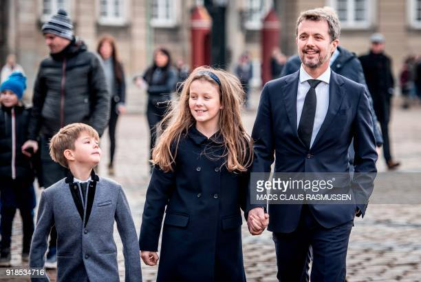 Denmark's Prince Vincent Princess Isabella and Crown Prince Frederik arrive at Amalienborg Palace in Copenhagen on February 15 2018 His Royal...