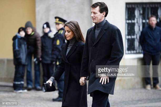 Denmark's Princess Marie and Prince Joachim of Denmark arrive at Christiansborg Palace Church where the Royal Danish family went to see Prince Henrik...