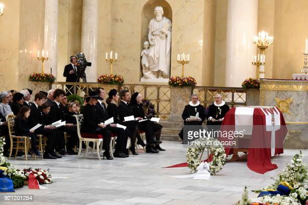Denmark's Princess Marie Prince Joachim Crown Princess Mary Crown Prince Frederik and Queen Margrethe attend the funeral of Denmark's Prince Henrik...