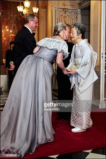 Denmark'S Queen Margrethe And Prince Consort Henrik Welcome Emperor Akihito And Empress At Return Reception In Tokyo Japan On November 17 2004...
