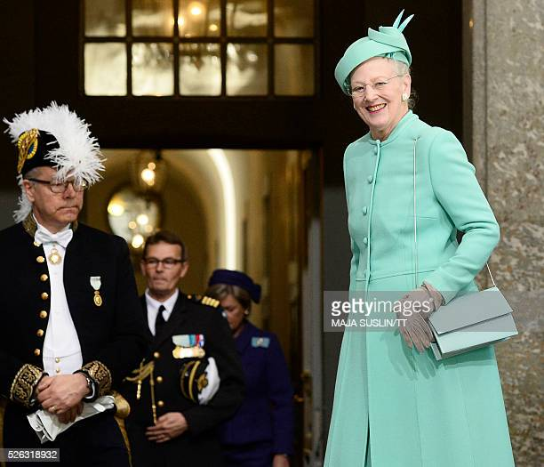 Denmark's Queen Margrethe arrives for for the Te Deum thanksgiving service in the Royal Chapel during King Carl XVI Gustaf of Sweden's 70th birthday...