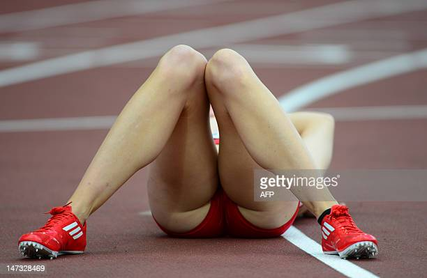 Denmark's Sara Petersen reacts after the women's 400m hurdles semifinal at the 2012 European Athletics Championships at the Olympic Stadium in...